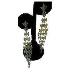 AAA Genuine Emerald Marquise In Gold Plated 925 Sterling Silver Chandelier Earrings
