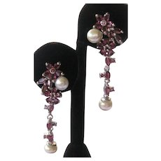 Natural Rhodolite Garnets & Pearls In 925 Sterling Silver Earrings
