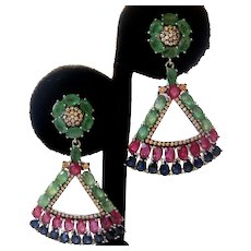 Rubies Emeralds & Sapphires Oh My!  925 Sterling Silver Earrings