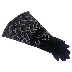 1950s Ornate Beaded Long Black Theatrical Suede Gloves
