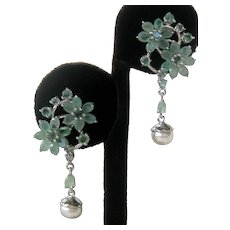 Genuine Emeralds & Pearls 925 Sterling Silver Flowers & Drop Earrings