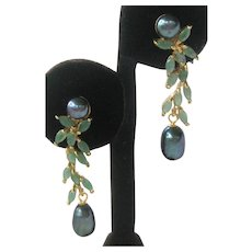 Emeralds & Platinum Hue Pearls Gold Plated 925 Sterling Silver Earrings