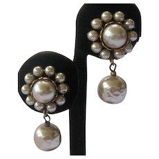 Miriam Haskell Baroque Glass Pearls Drop Vintage Earrings
