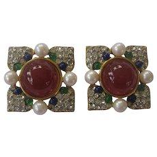 CRAFT Beautiful Rhinestones Pearls & Cabochons Vintage Earrings