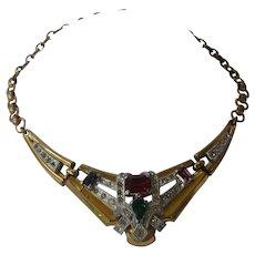 McClelland Barclay Vintage Multi Color Rhinestones Necklace