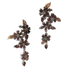 Garnets & Emeralds 925 Sterling Silver & Gold Plate Earrings