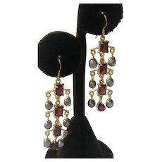 Garnets & Gray Pearls 925 Sterling Silver Dangling Earrings