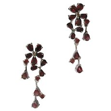 Dangling Garnets 925 Sterling Silver Earrings