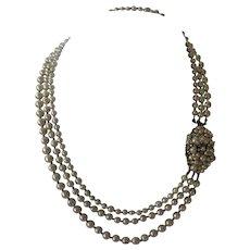 DeMario NY Long Heavy 3 Strand Rhinestones & Glass Pearls