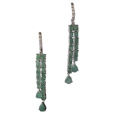 Natural Emeralds Set In 925 Sterling Silver Dangle Earrings