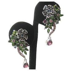 Sapphires Chrome Diopside Rhodolite 925 Sterling Silver Earrings