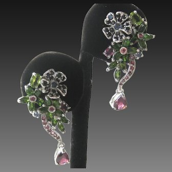 Sapphires Chrome Diopside Rhodolite 925 Sterling Silver Earrings