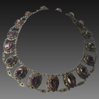 Late 1800s Purple Stones & Silver Large Bib Necklace Museum Quality