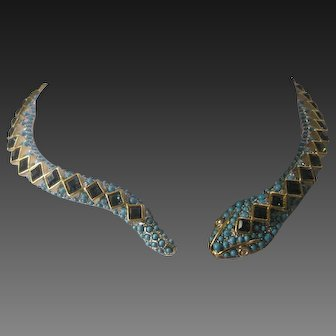 Kenneth Lane Turquoise & Sapphire Glass Snake Necklace