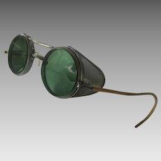 Antique Welders Glasses Green Glass Lenses & Metal Mesh So Cool