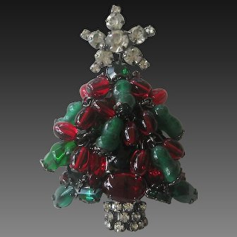 Beautiful N.Y. Designer Molded Glass Hand Made Christmas Tree Pin Brooch