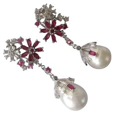 Rubies & Baroque Pearls 925 Sterling Silver Dangling Earrings