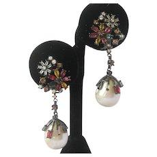 Citrine Sapphires & Baroque Pearls Sterling Silver Earrings