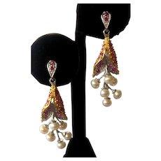 Rubies & Pearls Hanging Floral Clusters 925 Sterling Silver Earrings