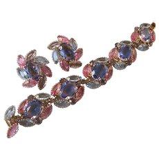 Stunning Pink & Blue Glass Large Stones Cluster Bracelet & Earrings Vintage Designer Demi Parure Set