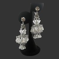Hattie Carnegie Clear Glass Drops Vintage Chandelier Earrings