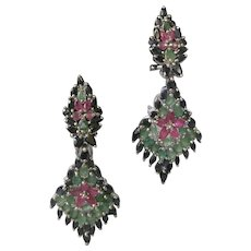 Genuine Emeralds Rubies & Sapphires 925 Sterling Silver Earrings