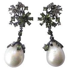 Marquise Cut Genuine Peridot & Pearls Dangling Floral Earrings