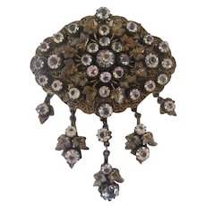 Gorgeous Huge Antique French Paste Dangle Brooch
