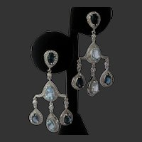 Real Blue Topaz Chandelier Earrings 925 Sterling Silver