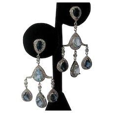 Real Blue Topaz Chandelier Earrings 925 Sterling Silver