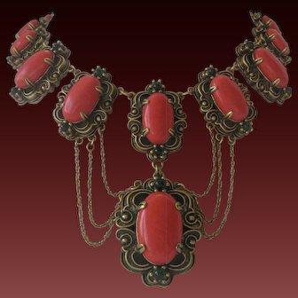 Heavy Vintage Large Orange & Green Stones Brass Bib Necklace
