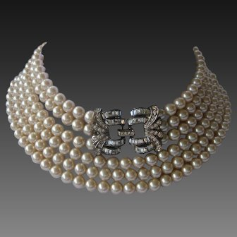Long Vintage Glass Pearls & Stunning French Paste Centerpiece Necklace By Carolee