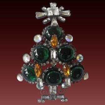 LARRY VRBA Huge 3D Rhinestone & Glass Candle Xmas Tree Pin Brooch