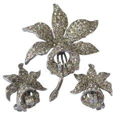 LEDO Vintage Rhinestones Flower Pin & Earrings Demi Parure