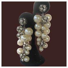 Pearls & Rhinestones Dangling Earrings