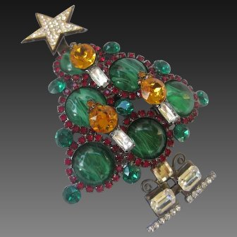 Lawrence VRBA Gorgeous Marbled Green Glass Cabochons Large 3 D Christmas Tree Pin Brooch