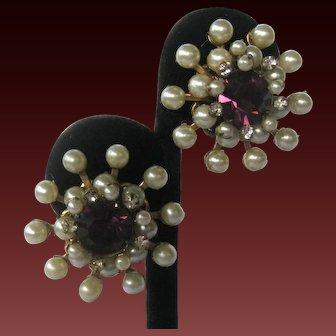 Miriam Haskell Purple Glass & Pearls Vintage Earrings