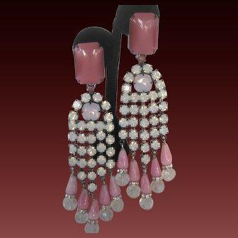 Larry VRBA Beautiful Large Pink & Moonstones Long Chandelier Earrings