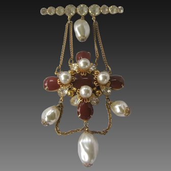 Unsigned Chanel Maltese Cross Pearls & Carnelian Glass Vintage Pin Brooch