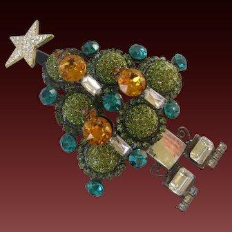 LARRY VRBA Beautiful Peridot Green Rhinestone Balls Large 3 D Christmas Tree Pin Brooch