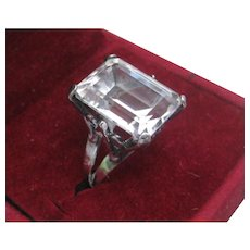 Gorgeous Vintage Huge Clear Stone Set In 925 Sterling Silver Ring Size 6