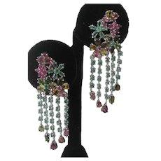 Emeralds Rubies & Fancy Tourmaline Set In 925 Sterling Silver Dangling Earrings