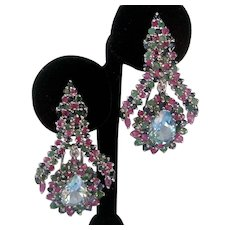 Rubies Sapphires Emeralds & Large Blue Topaz In 925 Sterling Silver Hanging Earrings