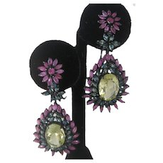 Rubies Sapphires & Lemon Quartz Set In 925 Sterling Silver Earrings