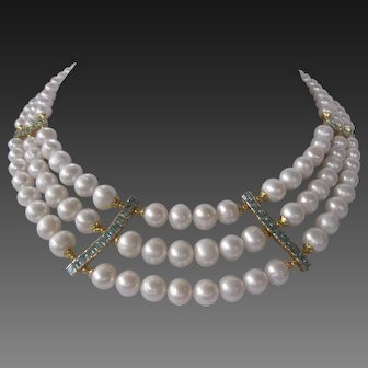 3 Strands Pearls Blue Topaz & Rubies Large Bib Necklace
