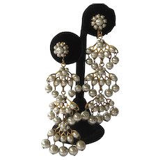 Miriam Haskell Draping Pearls Shoulder Duster Earrings