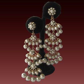 Miriam Haskell Draping Pearls Shoulder Duster Earrings