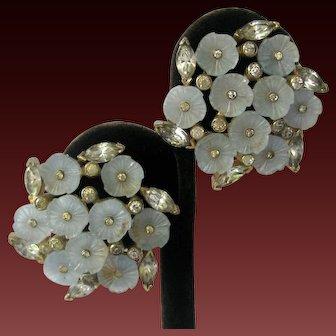 JOMAZ Light Blue Molded Glass Flowers & Rhinestones 3D Earrings