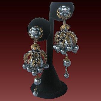 Miriam Haskell Jet Rhinestones & Platinum Pearls Dangling Waterfall Earrings