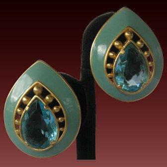 YSL Beautiful Openback Aqua Glass Teardrops & Enamel Earrings